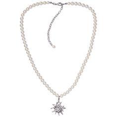 Perlenkette mit Edelweißhänger in Weiß von Schlick