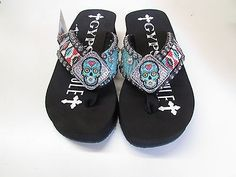 Gypsy-Soule-Womens-Sugar-Skull-Turq-Coral-White-Embellished-Flip-Flops