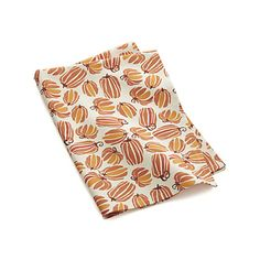 Pumpkin print dishtowel might be perfect living room toss pillow cover