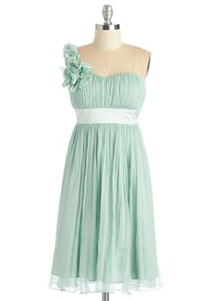 $120 Pictures by the Pond Dress - Mint, Solid, Prom, Wedding, Party, Bridesmaid, Mid-length, Chiffon, Woven, Pastel, Flower, Ruching, One Shoulder, Spring