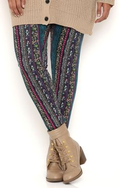 Deb Shops Plus Size Floral Tribal Stripe Leggings $12.00