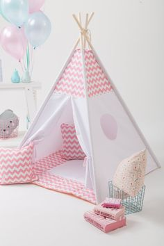 Wigiwama: Kids teepee in a pink chevron pattern. Crown your girl a princess with this pink chevron teepee set. Kids Tents, Teepee Kids, Teepee Pattern, Childrens Teepee, Teepee Play Tent, Crib Sets, Little Girl Rooms, Boy Rooms, Kids Furniture