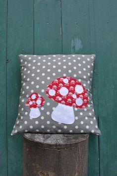 Custom Upcycled Toadstool Cushion by minimanna on Etsy, £21.00