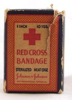 Vintage Johnson & Johnson Red Cross Gauze Bandage Box 10 Yards