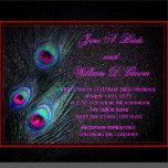 Elegant Black Teal and Hot Pink Peacock Wedding 5.5x7.5 Paper Invitation Card | Zazzle