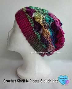 Crochet Shell N Picots Slouch Hat
