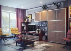 Living Room. Brown  Wooden Cabinet And Table On The Checkered Fur Rug Combined With Wooden Floor And Magnificent Couches: Various Living Roo...