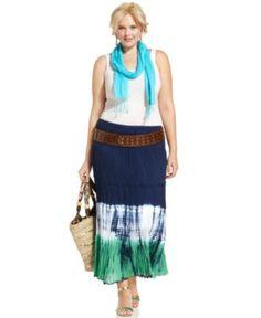 Style Plus Size Skirt, Dip-Dye Tiered Maxi - Plus Size Skirts - Plus Sizes - Macy's