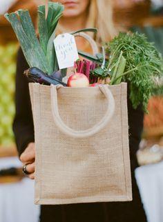 Northwest Farmer's Market Wedding | Burlap bags to fill with fresh veggies | Grey Likes Weddings