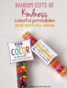 Spring Random Acts of Kindness printables. turn simple treats into anonymous compliments :) employee recognition (Candy Cake Skittles) Employee Appreciation Gifts, Volunteer Appreciation, Little Presents, Little Gifts, Secret Pal, Secret Sister Gifts, Employee Recognition, Thinking Day, Candy Gifts