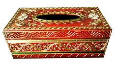 A Vintage Wooden Tissue Box. Decorated with Thai pattern line, Paint with Red gold green color. Thailand Handmade product.