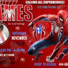 spiderman birthday invitations - superhero birthday invitations Welcome to Best Birthday Party This is a s Spiderman ps game superhero Birthday invitation will be a perfect addition to celebrate your Spiderman Birthday Invitations, Lego Invitations, Custom Birthday Invitations, Birthday Parties, Lego Birthday, Cake Birthday, Lego Cake, Minecraft Cake, Batman Party