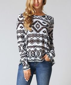 Love this Black & White Tribal Hi-Low Sweater by Pinkblush on #zulily! #zulilyfinds