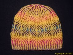 * Hand-knitted warm winter slouchy beanie cap / hat * Two colors brioche knitting technique * Very elastic pattern * Width 27cm/10.8 * Depth 24cm/9.6