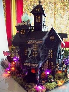 The Haunted House is DONE!--well, basically--I keep tweaking here and there--little things--details! I added lights to this one and I love . Casa Halloween, Halloween Village, Halloween Haunted Houses, Holidays Halloween, Happy Halloween, Halloween Fairy, Diy Halloween Decorations, Halloween Crafts, Halloween Ideas