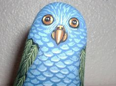 Whimsical Blue & Green PARROT  Painted Rock Art by reallyrocks, $14.00
