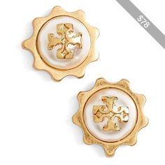 Tory Burch Logo Faux Pearl Gear Stud Earrings