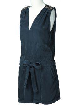 Blue V Neck Sleeveless Rhinestone Drawstring Jumpsuits