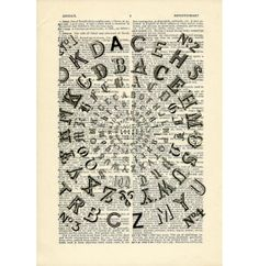 Typography Fonts typeface Dictionary art vintage by DarkIslandCity, $10.00