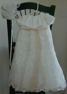 Christening gown made from wedding gown.  These ladies did such a beautiful job on my daughter's gown!  They incorporated all my favorite things about my dress into her dress.