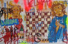 La extraña pareja juega un extraño juego, Acrílico sobre MDF, 50 x 33 cm, Curro Gómez
