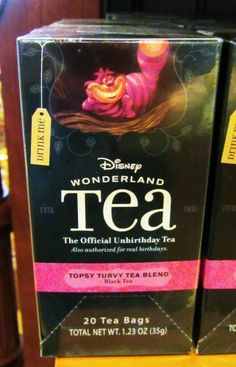"Disney Wonderland Tea. The official Unbirthday Tea. Also authorized for real birthdays. ""Topsy Turvy Tea Blend"". Sold at Disneyland Main street"