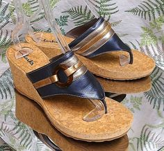 385e3af8b03 Clarks brown blue slip ons sandals thong toe dress heels shoes us womens sz 10  m
