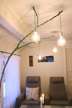 creative way to hide cords for hanging lights