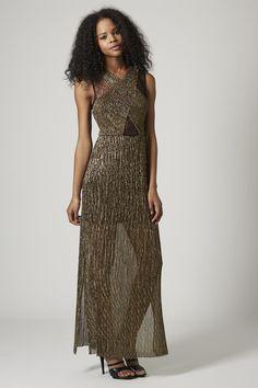 Plisse Foil Maxi Dress