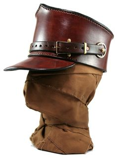 STEAMPUNK LEATHER SHAKO hat brown leather custom made buckles and gear decor Custom design.