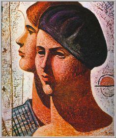 Mario Tozzi 1930: Laure et Béatrice. Olio su Tela cm.55x46 - L'opera è esposta a Parigi presso il Museo Nazionale d'Arte Moderna - Archivio n.965 - Catalogo Generale n..30/14.