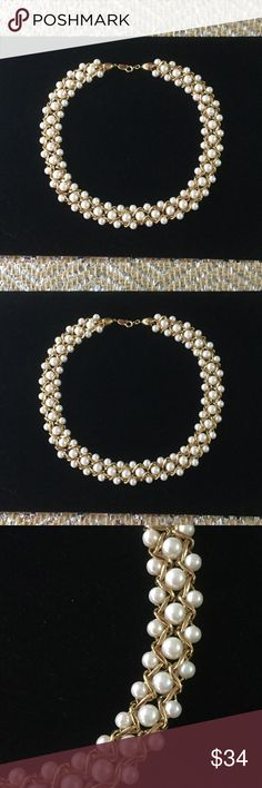 Exquisite Trifari Pearl Choker This is a stunning well crafted vintage Trifari necklace.  Many  high quality manufacturers similar to Trifari used the process of gold filled,  that's why these look showroom new.  Gold filled is an expensive way to make jewelry now almost all do not use this process anymore.  NWOT Trifari Jewelry Necklaces