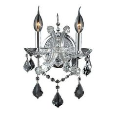 Worldwide Lighting Lyre 2-Light Chrome Wall Sconce with Clear Crystal-W23116C10-CL at The Home Depot