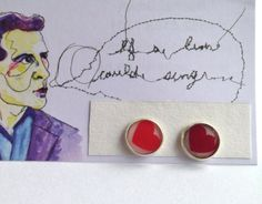 Red and Pink Heart Paper Post Earrings By Rachel Smith of Senselessart 030