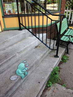 The Adventures of Sluggo by David Zinn, via Behance - chalk art