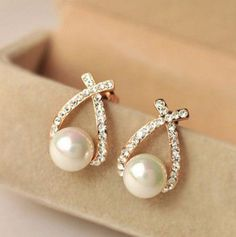 New Design Brand Bijoux Fashion Charms Crystal Pearl Cubic Zircon Diamond Stud Earring Women Jewelry Brincos B336