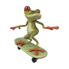 frog on skate board