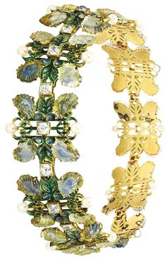 Pair of Art Nouveau Gold, Carved Glass, Enamel, Diamond and Natural Pearl 'Chrysanthemum' Bracelets/Necklace Combination, Rene Lalique