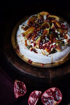 Arabian Nights Pavlova - easy fig and pomegranate pavlova - perfect dessert for christmas day or even New Year Eve