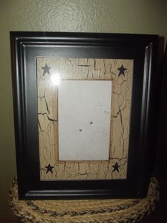 Primitive Crackle Wood Picture Frame with Matte ~ Holds 4 x 6 ~ Country Decor #NaivePrimitive