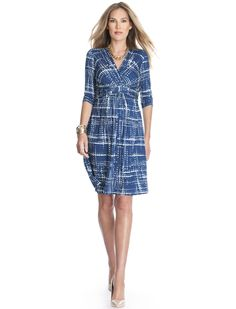 A Pea in the Pod Seraphine Elbow Sleeve Faux Wrap Maternity Dress
