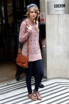 hat, braid, oxfords, sweater, jeans, and a messenger bag...literally been wearing this combo all the time. #taylorswift