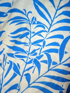 1970's Indonesian Batik Tropical  Blue & White by TheIDconnection