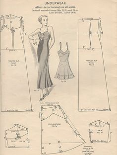1930's (?) pattern for slip dress + camisole, to draft to ones own measurements