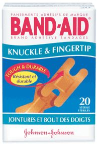 Band-aid flexible fabric adhesive bandages, knuckle-fingertip - 20 ea