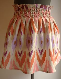 Smocked honeycomb skirt