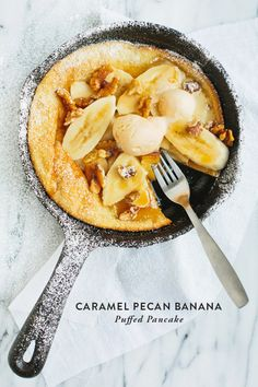 Whip out your cast iron to make caramel pecan banana puff pancakes! Lots of words, lots of yum.