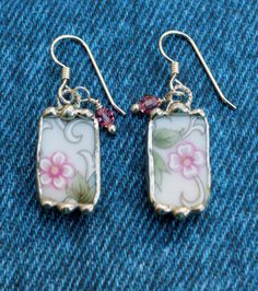Broken China Jewelry Earrings, Pink Floral China, Sterling Silver by Robinsnestcreation1 on Etsy https://www.etsy.com/listing/206353627/broken-china-jewelry-earrings-pink