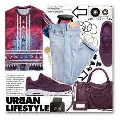 """""""Urban Lifestyle"""" by stylemoi-offical ❤ liked on Polyvore featuring Frends, H&M, Bobbi Brown Cosmetics, AG Adriano Goldschmied, NIKE, 1:Face and stylemoi"""