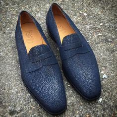 Gaziano & Girling - Made to order navy stingray Monaco's